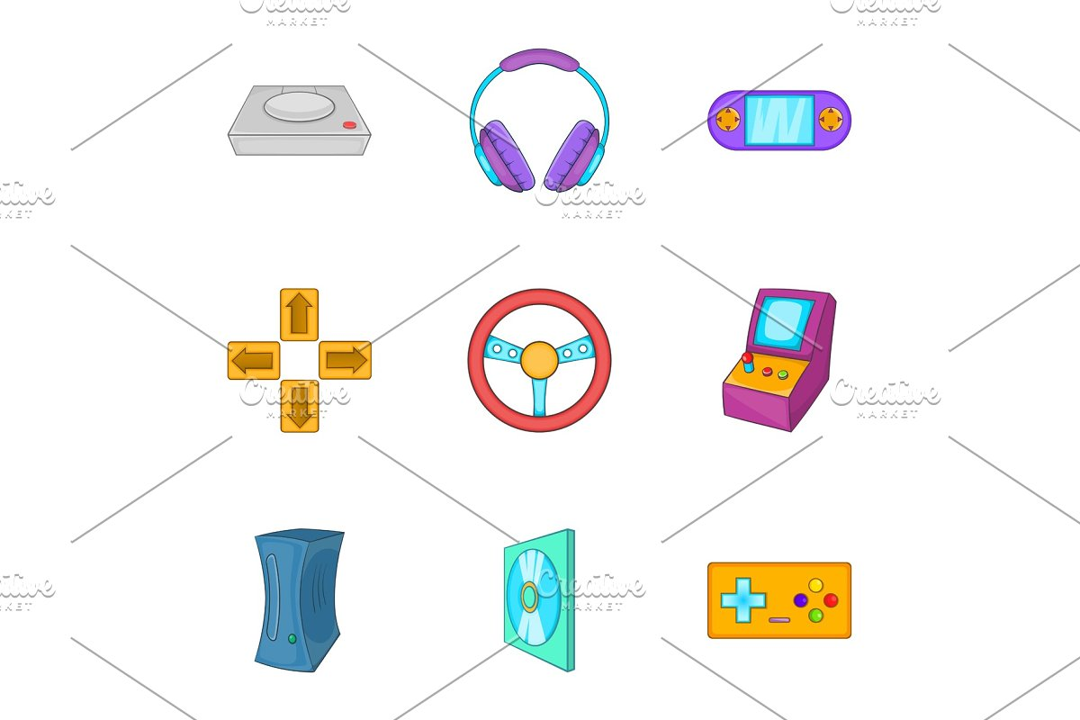 Game console icons set, cartoon