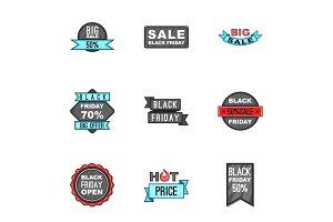Sale icons set, cartoon style