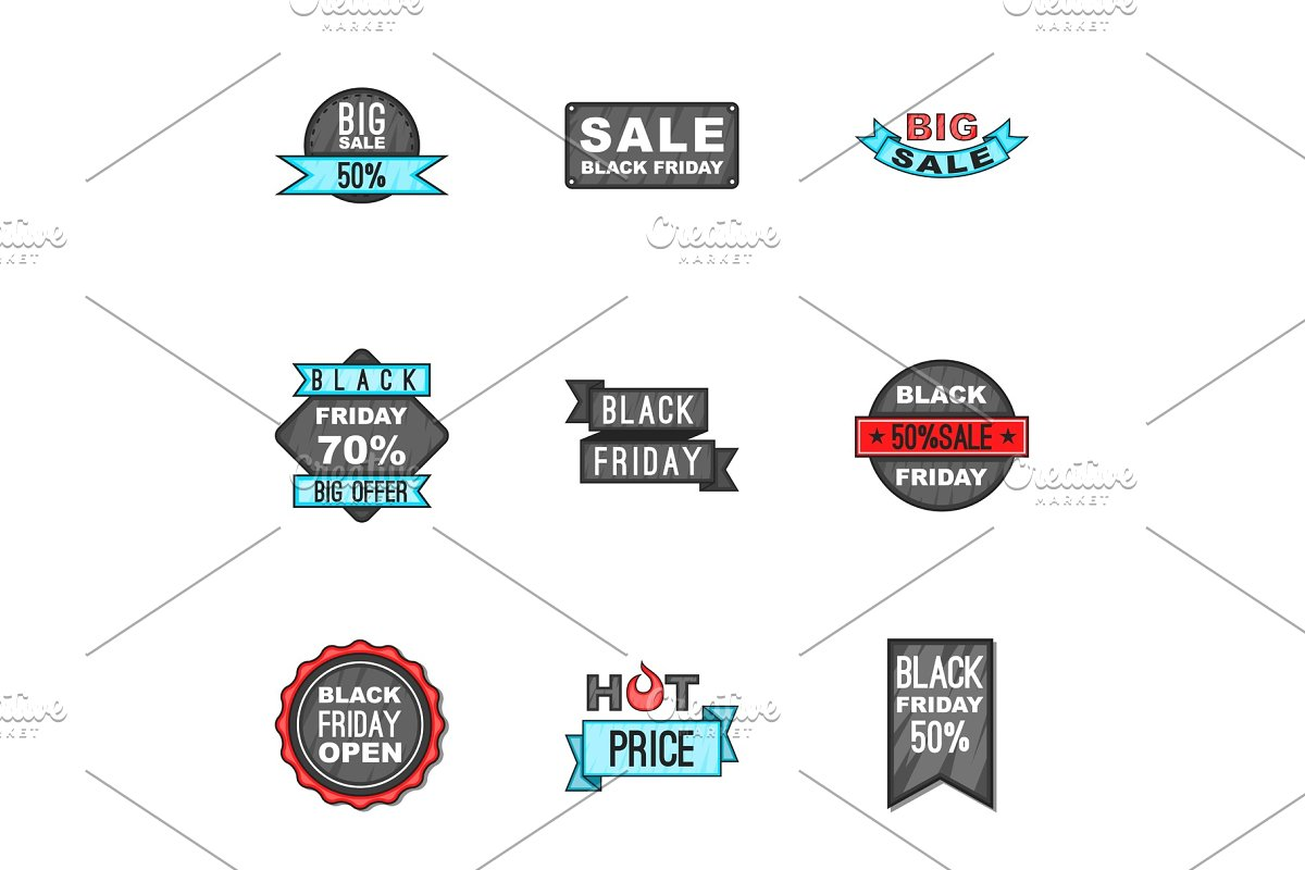 Sale icons set, cartoon style