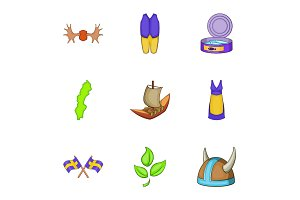 Vacation in Sweden icons set