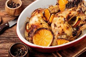 Baked chicken with orange sauce