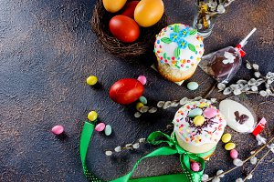 Easter cake, red eggs, holiday decor