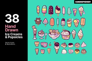 Cute Hand Drawn Ice Creams Icon Pack