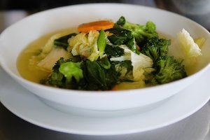 vegetable soup in plate
