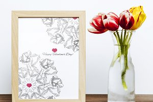 Valentines printable poster flowers