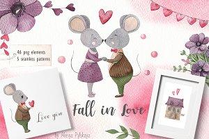 Fall in love - Watercolor set