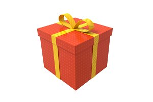 Gift box red yellow ribbon 3D