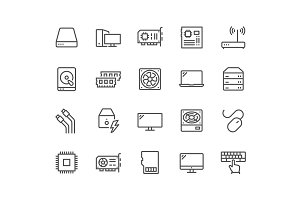 Line Computer Components Icons