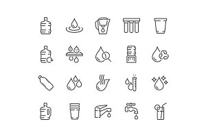 Line Water Icons