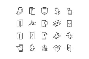 Line Smartphone Protection Icons