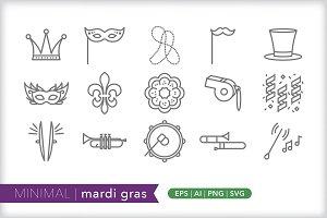Minimal mardi gras icons