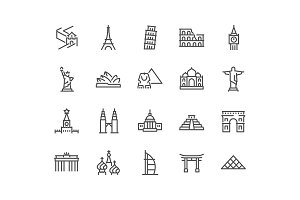 Line Landmarks Icons