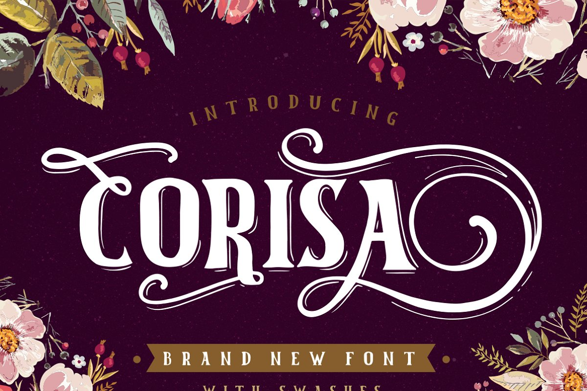 Corisa display font with swashes
