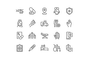 Line Medical Assistance Icons