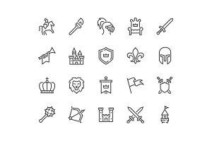 Line Medieval Icons