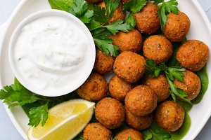 Fresh Falafel with Yogurt Sauce on