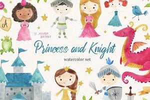 Princess & Knight Watercolor Clipart