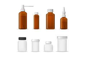 Realistic Medical Bottle Glass Set.