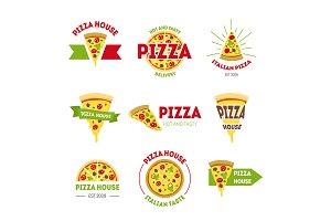 Cartoon Pizzeria Signs Color Set.