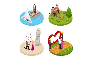 Romantic Relationship Signs 3d Set