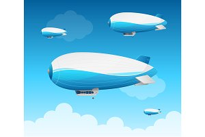 Realistic 3d Detailed Dirigible Fly