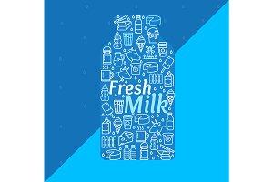 Cartoon Fresh Milk Dairy Products