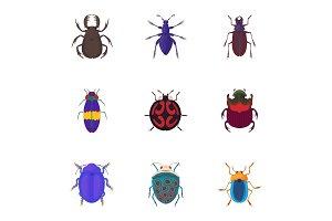Bugs icons set, cartoon style