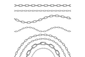 Silver and Golden Chain Set. Vector