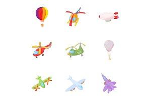 Air transport icons set, cartoon
