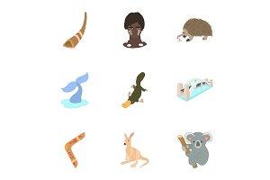 Attractions of Australia icons set