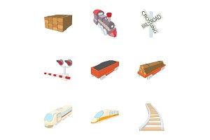 Railroad icons set, cartoon style
