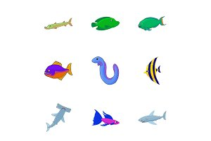 Tropical fish icons set, cartoon