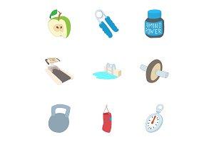 Active sports icons set, cartoon