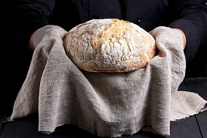 baked round homemade bread