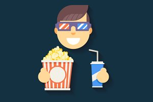 Guy Character in Cinema 3D Glasses