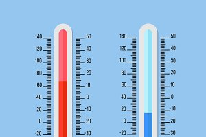 Celsius and Fahrenheit thermometers.