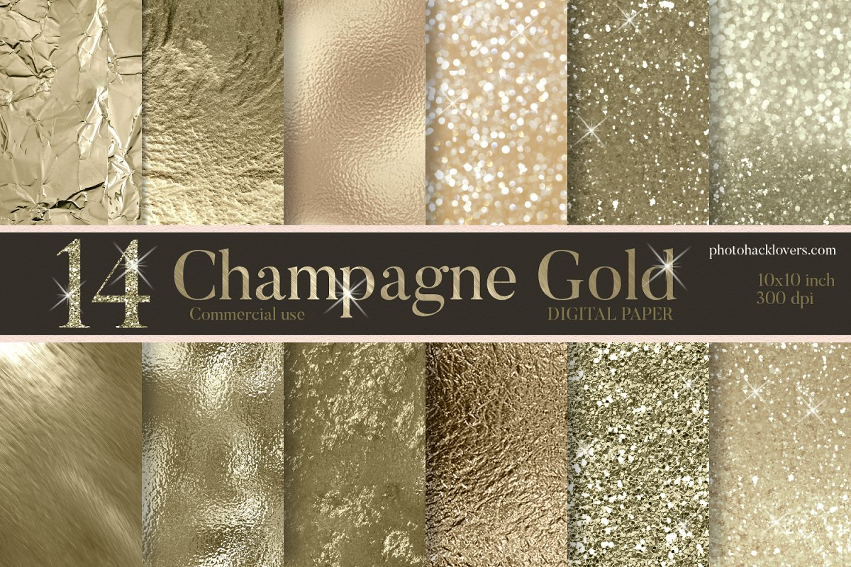 Champagne Gold Digital Paper in Textures - product preview 8