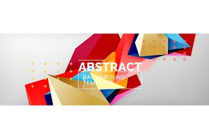 Bright colorful triangular poly 3d