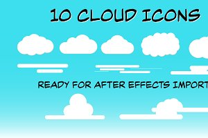 10 Cloud Icons ready for AE Import!