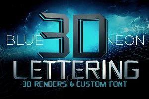Blue Neon - 3D Lettering + Font