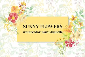 Sunny Flowers:watercolor mini-bundle