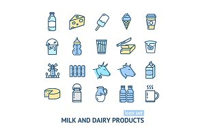 Milk Dairy Products Thin Line Icon