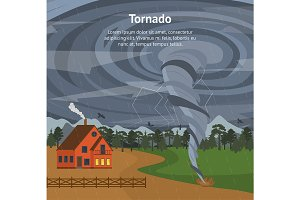 Cartoon House and Tornado Card