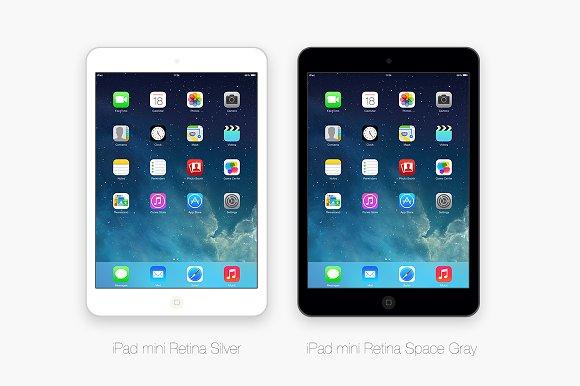 Flat iPad mini Retina 2 colors PSD