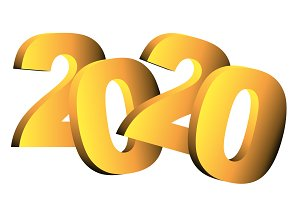 New year 2020 over white background