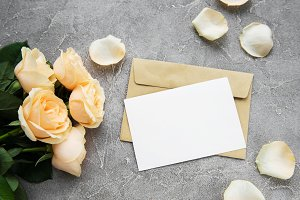 Yellow roses and greeting card
