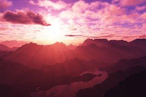 Burning pink sunset at mountains pea