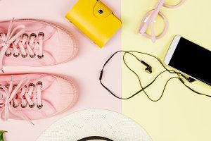 Flat lay with trendy accessories, cl