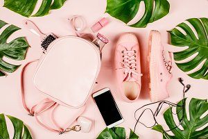 Beautiful flat lay with trendy acces