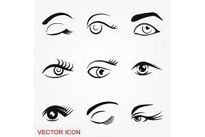 Beautiful eye icon with eyebrow